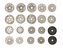 CONGO, Free state, Leopold II (1885-1908), 20 Centimes (3), 1906, 1908, 1909, 10 Centimes (3), 1906, 1908, 1909, 5 Centimes (3), 1906, 1908, 1909, 2 Centimes, 1887 (Dupriez 52a, 126, 128, 131, 135, 136, 138, 140, 142, 144)