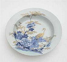 Large plate featuring cranes - Japan, late Edo or early Meiji