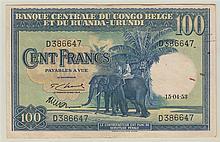 CONGO BELGE, Banque centrale du Congo Belge et du Ruanda-Urundi, 100 Francs et 20 Francs