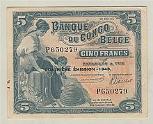 CONGO BELGE, Banque du Congo Belge, 5 Francs