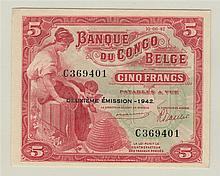 BELGIAN CONGO, Banque du Congo Belge, 5 Francs