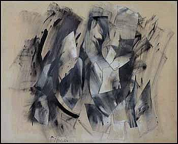 Toni (Norman) Onley 1928 - 2004 Canadian oil on canvas collage Polar #27