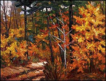 Armand Tatossian 1948 - Canadian acrylic on canvas Forêt québécoise