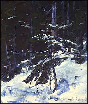 Daniel Izzard 1923 - 2007 Canadian oil on canvas board Above the Snowline