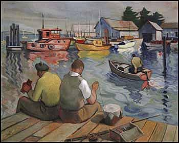 Henry George Glyde 1906 - 1998 Canadian oil on canvas Fishing for Cod, Sidney, BC