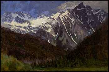 William Brymner 1855 - 1925 Canadian oil on board In the Selkirk Range