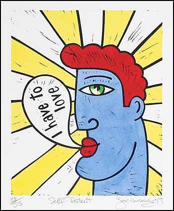 Joe Average 1958 -  Canadian lithograph on paper Self Portrait