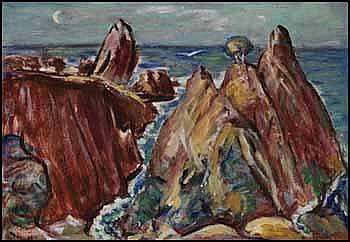 John Delisle Parker 1884 - 1962 Canadian oil on canvas Rocks, Point Lobos, Carmel (On the West Coast)