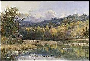 Lucius Richard O'Brien 1832 - 1899 watercolour on paper Deer by the Water's Edge A03F-E01693-002 14.5 x 21.5in 36.8 x 54.6 centimeters signed and dated 1890 Provenance: Private Collection, Scotland