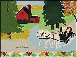 Maud Lewis 1903 - 1970 Canadian oil on board