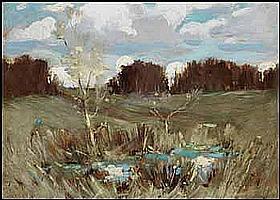 Arthur Dominique Rozaire 1879 - 1922 Canadian oil on board Summer Marsh