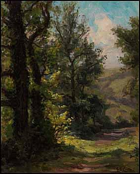 Gertrude Eleanor Spurr Cutts 1858 - 1941 Canadian oil on canvas board Forest Trail