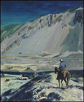 Peter Ewart 1918 - 2001 Canadian oil on board Moonlight - Thompson River near Spences Bridge