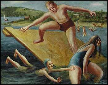Miller Gore Brittain 1912 - 1968 Canadian oil on board Swimmers