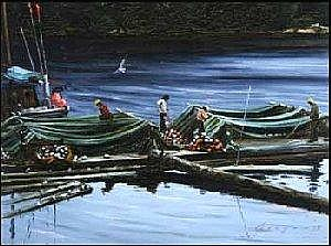John M. Horton 1935 - Canadian oil on canvas Net Repairs at Bamfield 12 x 16 inches 30.5 x 40.6 centimeters signed and dated indistinctly 1979