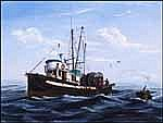 John M. Horton 1935 -  Canadian acrylic on canvas board Reeling on the Drum