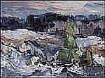 Leonard Parent Basque 1927 - Canadian oil on canvas Première neige au Bic
