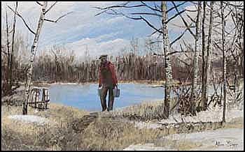 Allen Sapp 1929 - Canadian acrylic on canvas