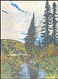 FRANK (FRANZ) HANS JOHNSTON ARCA CSPWC G7 OSA 1888 - 1949 Canadian Spruce Sentinels, Algoma, Ontario tempera on paper board, signed Francis H. Johnston and dated 1918 and on verso titled and inscribed This painting was made on the spot during a trip, Frank Hans Johnston, Click for value