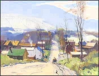 GEORGE FRANKLIN ARBUCKLE OSA PRCA 1909 - 2001 Canadian The Road into the Village oil on canvas, signed 20 x 26in, 50.8 x 66cm Provenance: Private Collection, Quebec