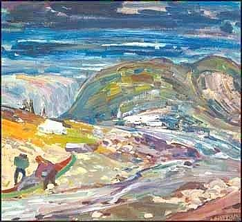 RENE JEAN RICHARD 1895 - 1982 Canadian Trapper on the River George, Ungava oil on board, signed and on verso signed and titled 28 x 31. 5in, 71.1 x 80cm Provenance: Galerie Walter Klinkhoff Inc., Montreal Private Collection, Vancouver Born in