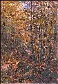 AARON ALLAN EDSON OSA RCA 1846 - 1888 Canadian Sunlit Forest Path oil on canvas on board, circa 1880 signed 15 x 10.5in, 38.1 x 26.7cm Provenance: Nora Collyer, Montreal (Beaver Hall artist) By descent to the present Private Collection, Victoria
