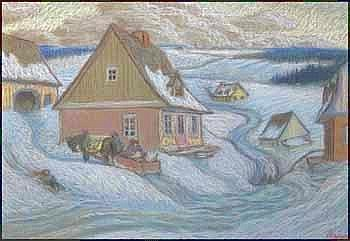 Louis Paul Perron 1919 - 2004 Canadian pastel on paper Winter Village AOL0505-E02437-001 12.75 x 18inches 32.4 x 45.7 centimeters signed