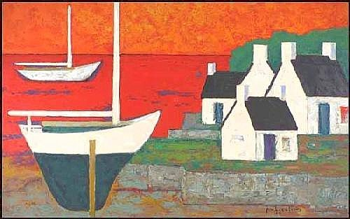 Paul Vanier Beaulieu 1910 - 1996 Canadian oil on canvas Port de mer fond rouge A05F-E02863-006 28 x 45 inches 71.1 x 114.3 centimeters signed and dated 1958 Provenance:Dominion Gallery, Montreal The Reader's Digest Collection