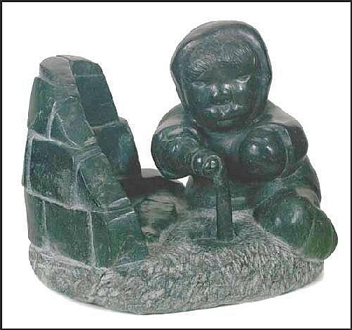 Johnny Inukpuk 1911 - Canadian soapstone sculpture Ice Fishing A05F- E03014-001 11 x 8 x 10 inches 27.9 x 20.3 x 25.4 centimeters Literature:George Swinton, Sculpture of the Eskimo, 1972, page 17 Provenance:Private Collection, Toronto Johnny Inukpuk,