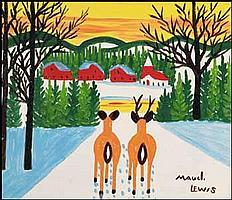 Maud Lewis 1903 - 1970 Canadian oil on board Deer in Winter