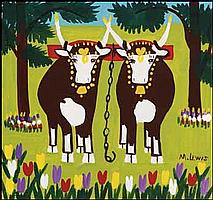 Maud Lewis 1903 - 1970 Canadian oil on board Two Oxen