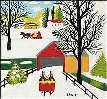 Maud Lewis 1903 - 1970 Canadian enamel on board Covered Bridge in Winter