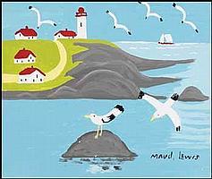 Maud Lewis 1903 - 1970 Canadian oil on board Seashore, Nova Scotia