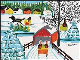 Maud Lewis 1903 - 1970 Canadian oil on board Sleigh and Covered Bridge