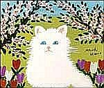 Maud Lewis 1903 - 1970 Canadian oil on board White Cat
