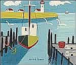 Maud Lewis 1903 - 1970 Canadian oil on board Harbour, Nova Scotia