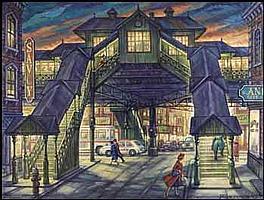 Paul Alexander Goranson 1911 - 2002 Canadian oil on canvas El Station, Third Avenue, New York