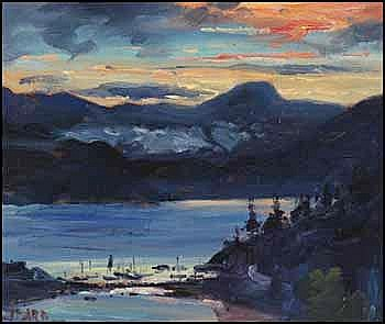 Daniel Izzard 1923 - 2007 Canadian oil on board Evening Sky, Bowen Island, Whytecliff Marina in Foreground