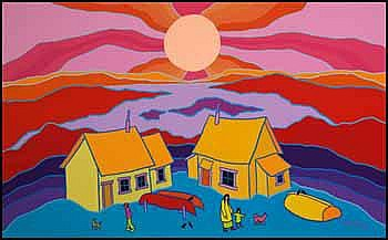 Ted Harrison 1926 - Canadian acrylic on canvas Glorious Day
