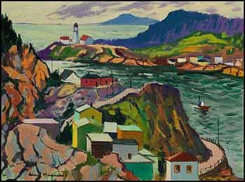 Henri Leopold Masson 1907 - 1996 Canadian oil on canvas The Battery, St. John's, Newfoundland