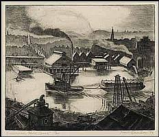 Paul Alexander Goranson 1911 - 2002 Canadian etching Evening on False Creek
