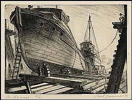 Paul Alexander Goranson 1911 - 2002 Canadian etching On the Ways