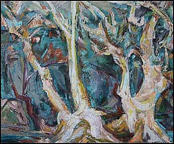 Bess Larkin Housser Harris 1890 - 1969 Canadian oil on paper on board Sycamores in the Sun