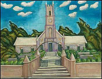 Bess Larkin Housser Harris 1890 - 1969 Canadian oil on board Church (New Mexico)