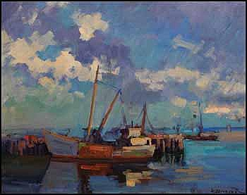 Klement Olsansky 1909 - 1963 Canadian oil on canvas Harbour Scene