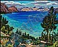 James Williamson Galloway (Jock) Macdonald 1897 - 1960 Canadian oil on academy board Okanagan Lake from Peachland, Jock MacDonald, Click for value