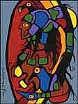 Norval H. Morrisseau 1932 - 2007 Canadian acrylic on canvas Visionary Women and Fly