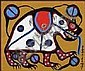 Norval H. Morrisseau 1932 - 2007 Canadian acrylic on canvas on board Sacred Bear, Norval Morrisseau, Click for value