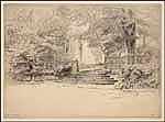Maurice Achener 1881 - 1963 French etching La Terrasse, Genève, Villa Lord Byron