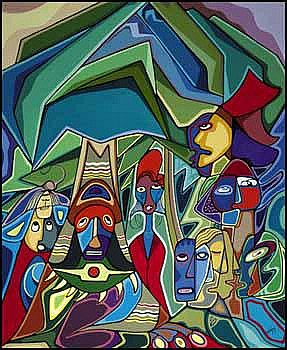 Daphne Odjig 1919 - Canadian acrylic on canvas All